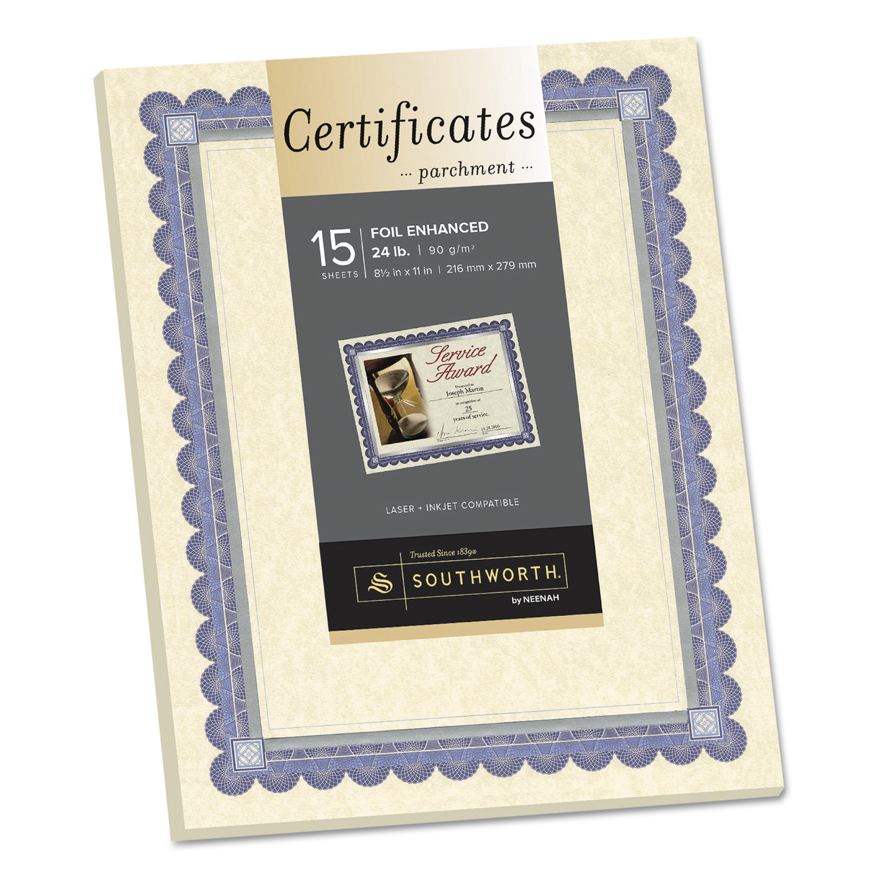 Southworth Foil-Enhanced Parchment Certificate, Ivory w/Blue/Silver Foil, 8 1/2 x 11, 15/PK