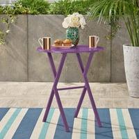 Fletcher Outdoor Iron Bistro Table, Matte Purple