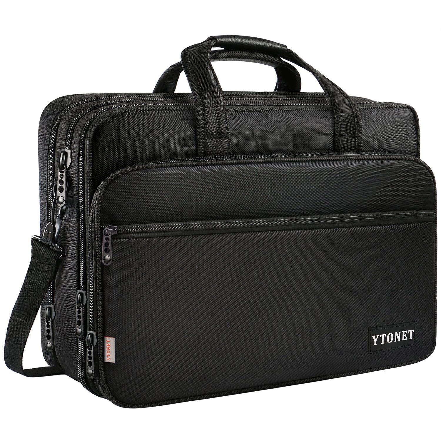 17 inch Laptop Briefcase, Travel Expandable Business Laptop Bag with Multi-compartment, Water Resistant Nylon Shoulder Messenger Bag Laptop Case for Men and Women, Fits 15.6 Inch Laptop/Tablet