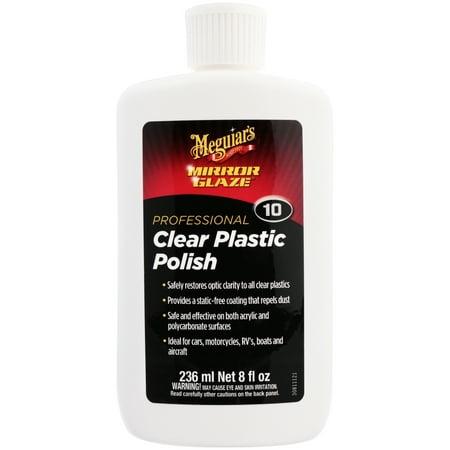 Meguiar's Mirror Glaze Clear Plastic Polish – Create Optical Clarity – M1008, 8 oz
