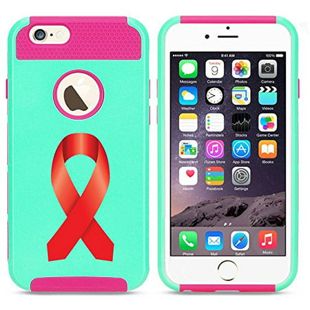 Apple iPhone SE Shockproof Impact Hard Soft Case Cover Heart Disease - AIDS Awareness Ribbon (Light Blue-Hot Pink),MIP - Aids Awareness Ribbon
