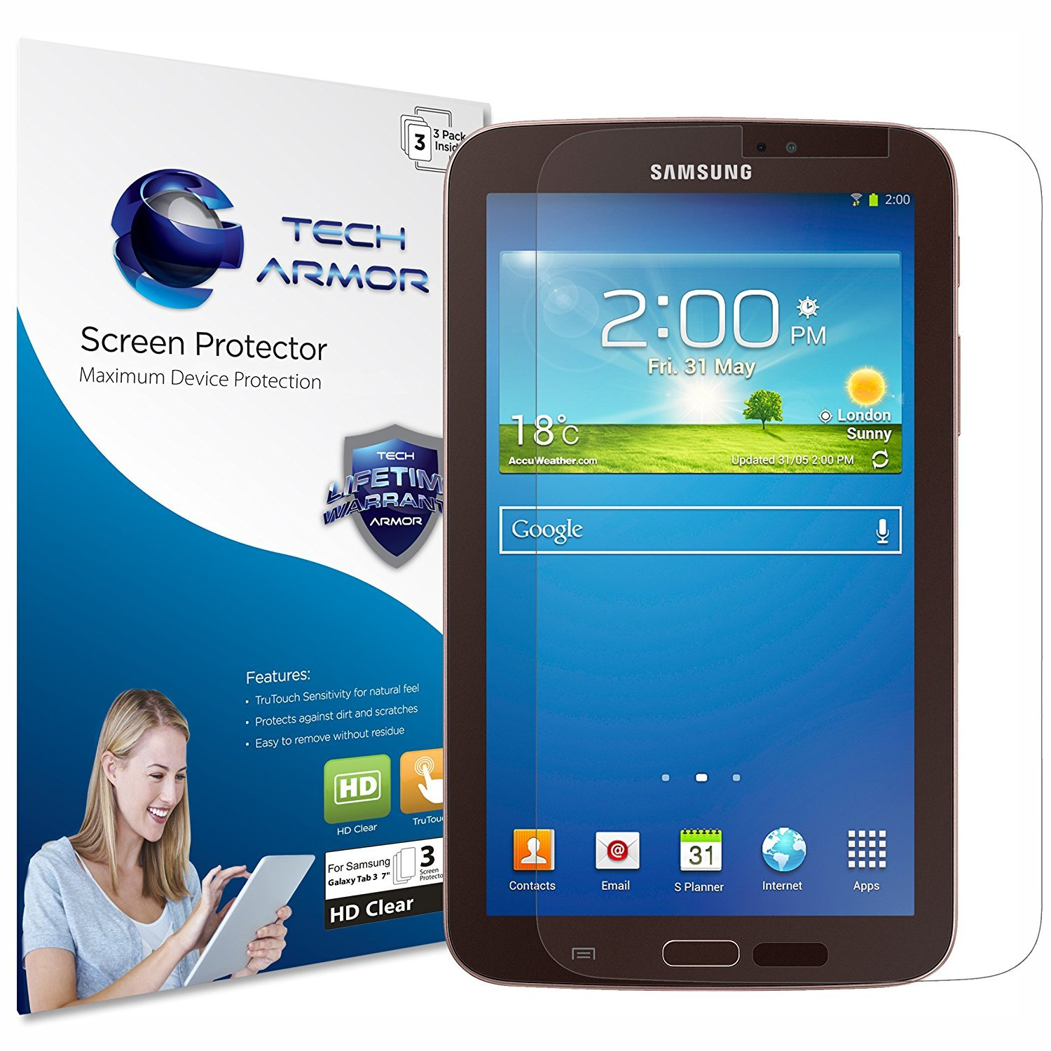 Tech Armor Galaxy Tab 3 Screen Protector, Anti-Glare/Anti-Fingerprint Sasmsung Galaxy Tab 3-7 Film Screen Protector [3-Pack]