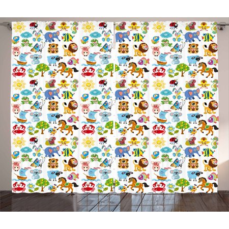 - Nursery Curtains 2 Panels Set, Various Different Animal Figures and Nature Themed Cartoon Characters Babies Kids, Window Drapes for Living Room Bedroom, 108W X 63L Inches, Multicolor, by Ambesonne
