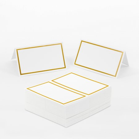 Koyal Wholesale Placecard Gold Foil Border Table Tent Cards in Bulk 100-Pack,Dinner Party Seating, Food Catering - Wholesale Tins