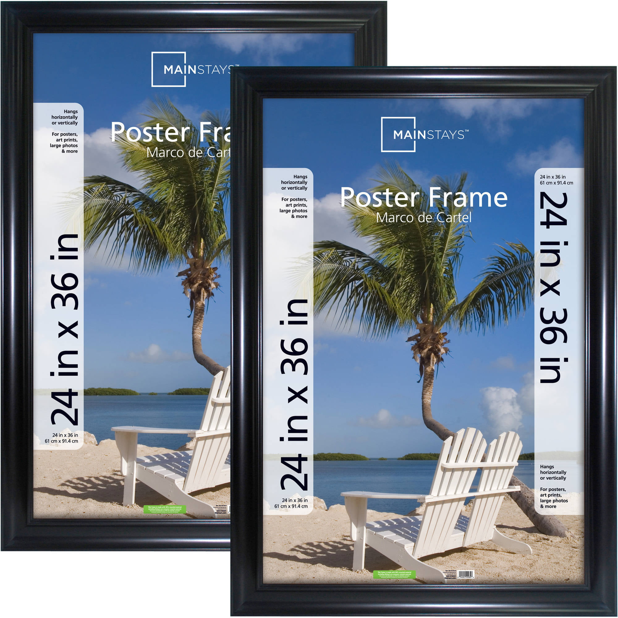 mainstays 24x36 wide black poster and picture frame set of 2 walmartcom