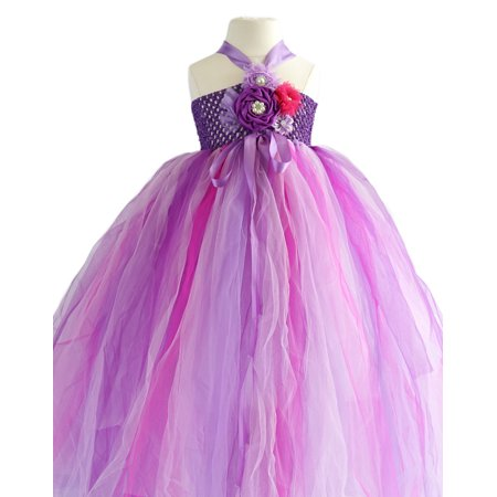 Efavormart Caribbean Fuchsia One Shoulder Tulle Flower Girl Dress Birthday Girl Dress Junior Flower Girl Wedding Party Gown Dress