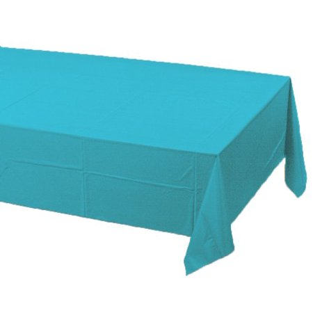 Plastic Banquet Table Cover, Bermuda Blue, Plastic solid colored banquet table cover in Bermuda blue By Creative Converting Ship from US