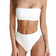 Womens Bandeau Bra Bikini Sets Push Up Swimwear High Waist Strapless Swimsuit Sexy Bathing Suits