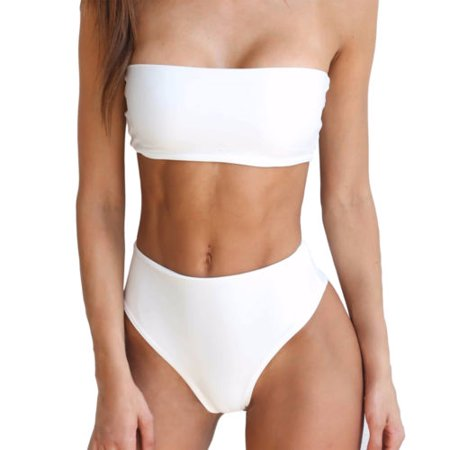 Womens Bandeau Bra Bikini Sets Push Up Swimwear High Waist Strapless Swimsuit Sexy Bathing Suits ()