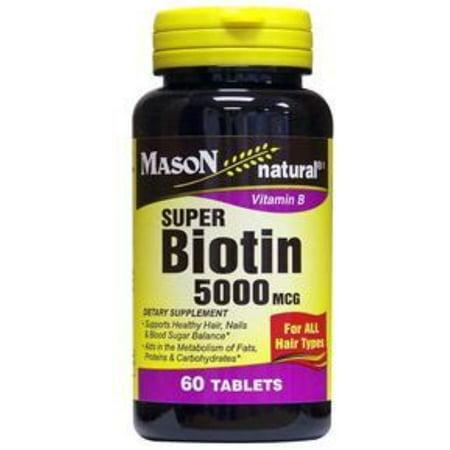 Mason Natural Super Biotin 5000 mcg, Softgels 60 ea (Pack of