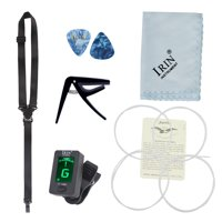 5 in 1 Guitar/Ukulele accessories Pick + Strap + Tuner + Cleaning Cloth + String