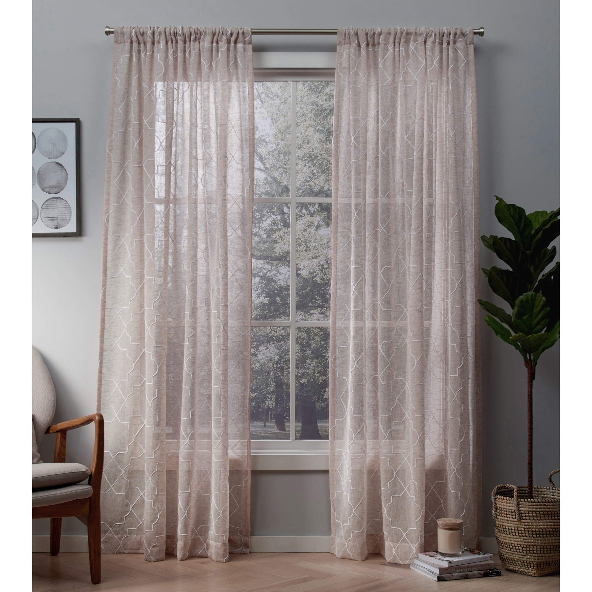 Exclusive Home Cali Embroidered Sheer Window Curtain Panel Pair with Rod Pocket