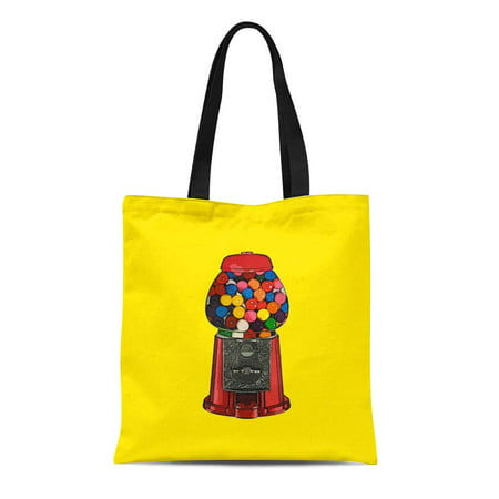 SIDONKU Canvas Tote Bag Gum Retro Gumball Machine Candy Vintage Reusable Handbag Shoulder Grocery Shopping Bags (Gum All Machine Stand)