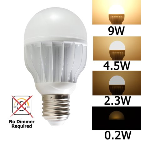 iSmartLED 4 Switchable LED Lighting Levels of 9W/4.5W/2.3W/0.2W(Not for 3-way lamp or socket and No Dimmer Required), A19 for Medium Base Dimmable Soft White, 60W Equivalent Incandescent Bulb, for