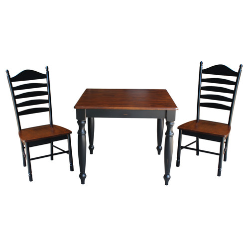 August Grove Henrietta 3 Piece Solid Wood Dining Set with Turned Legs