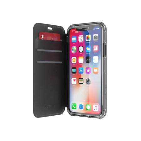 Griffin Survivor Clear Wallet iPhone X Case with Credit Card Folio and Non-Yellowing Back Shell - Black/Clear