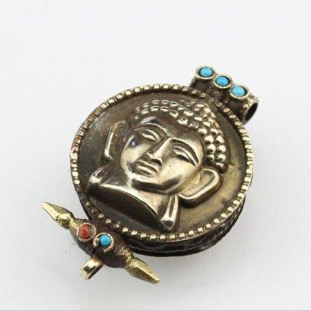 - Big Tibetan 5 Turquoise Red Coral Lord Sakyamuni Ghau Prayer Box Amulet Pendant