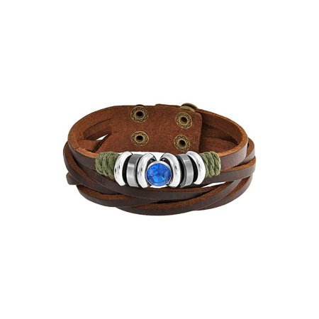 Blue Charm Brown Leather Multi Strand Wrap Cuff Bracelet For Women For Teen Oxidized Gold Plated Stainless Steel Double Strand Leather Bracelet