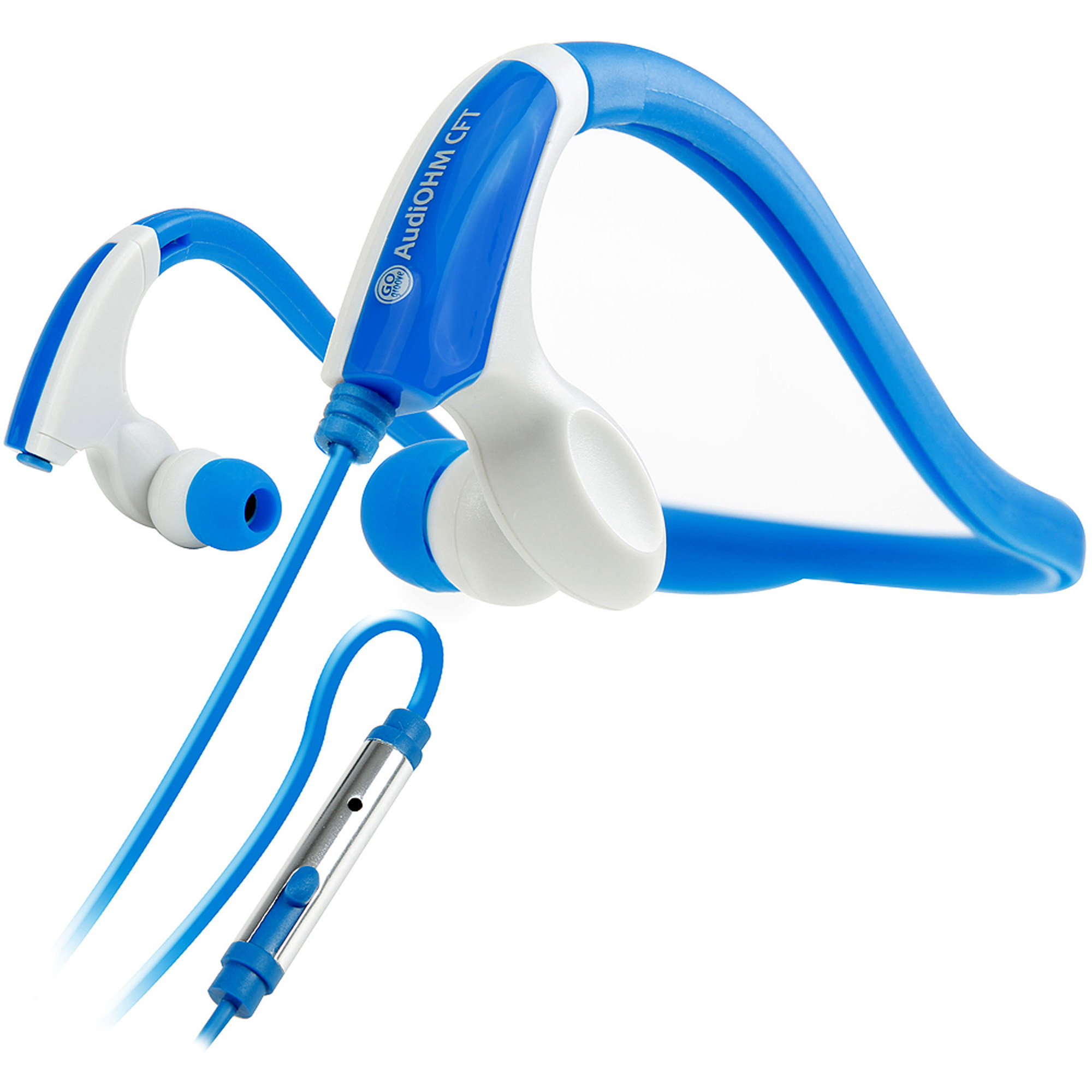GOgroove CFT Blue Sports Neckband Headphones with Flexible Design and In-Line Microphone