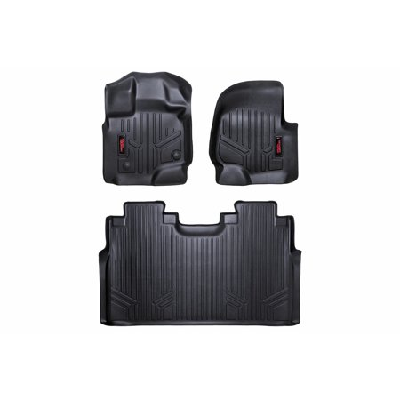 F150 Supercrew Model (Rough Country Heavy Duty Floor Liners (fits) 2015-2019 Ford F150 SuperCrew Bucket Front/Rear M-51512 Duty Floor)