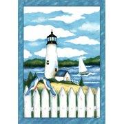"""Lighthouse House Flag Summer Bluebirds Sailboats Coastal 28""""x40"""""""