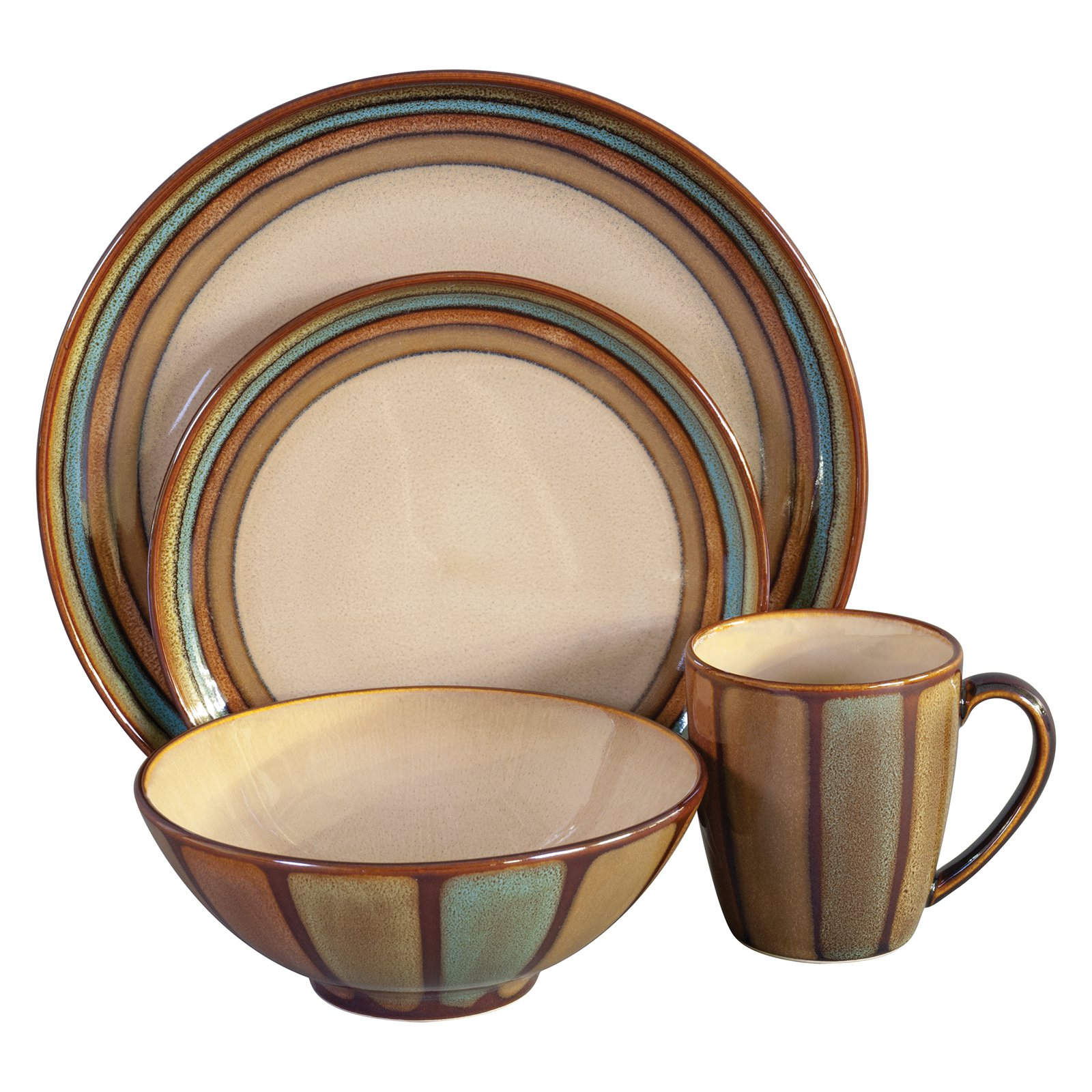 sc 1 st  Walmart & Sango Flair Dinnerware - Brown - Set of 16 - Walmart.com