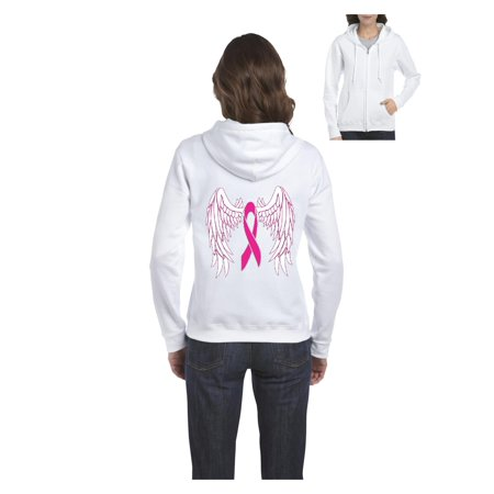 Pink Ribbon with Wings Breast Cancer Awareness Women's Full-Zip Hooded Sweatshirt Colon Cancer Hooded Sweatshirt