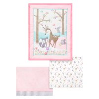Parents Choice Comforter, Fitted Crib Sheet, and Dust Ruffle Set, 3pc (Baby Girls)