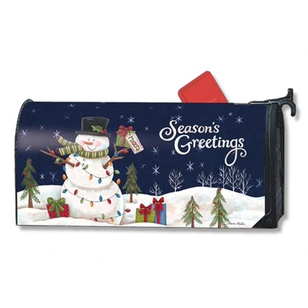 snowman lights christmas large mailbox cover seasons greetings oversized