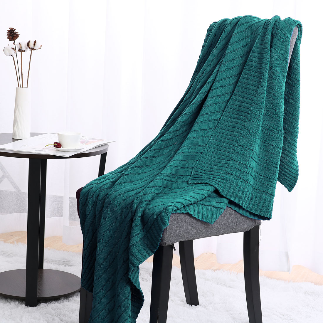 Soft Warm 100% Cotton Cable Knitted Throw For Couch Throw Blanket ,Dark Green,47 x 70 Inch