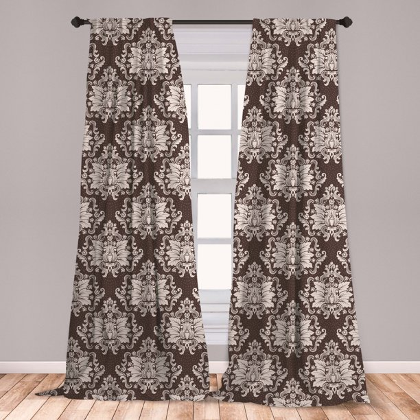 Damask Curtains 2 Panels Set Victorian Floral Pattern With Blooming Foliage Leaves On Dark Toned Backdrop Window Drapes For Living Room Bedroom Brown And Beige By Ambesonne Walmart Com Walmart Com