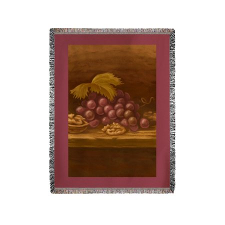 Red Grapes   Oil Painting   Lantern Press Artwork  60X80 Woven Chenille Yarn Blanket