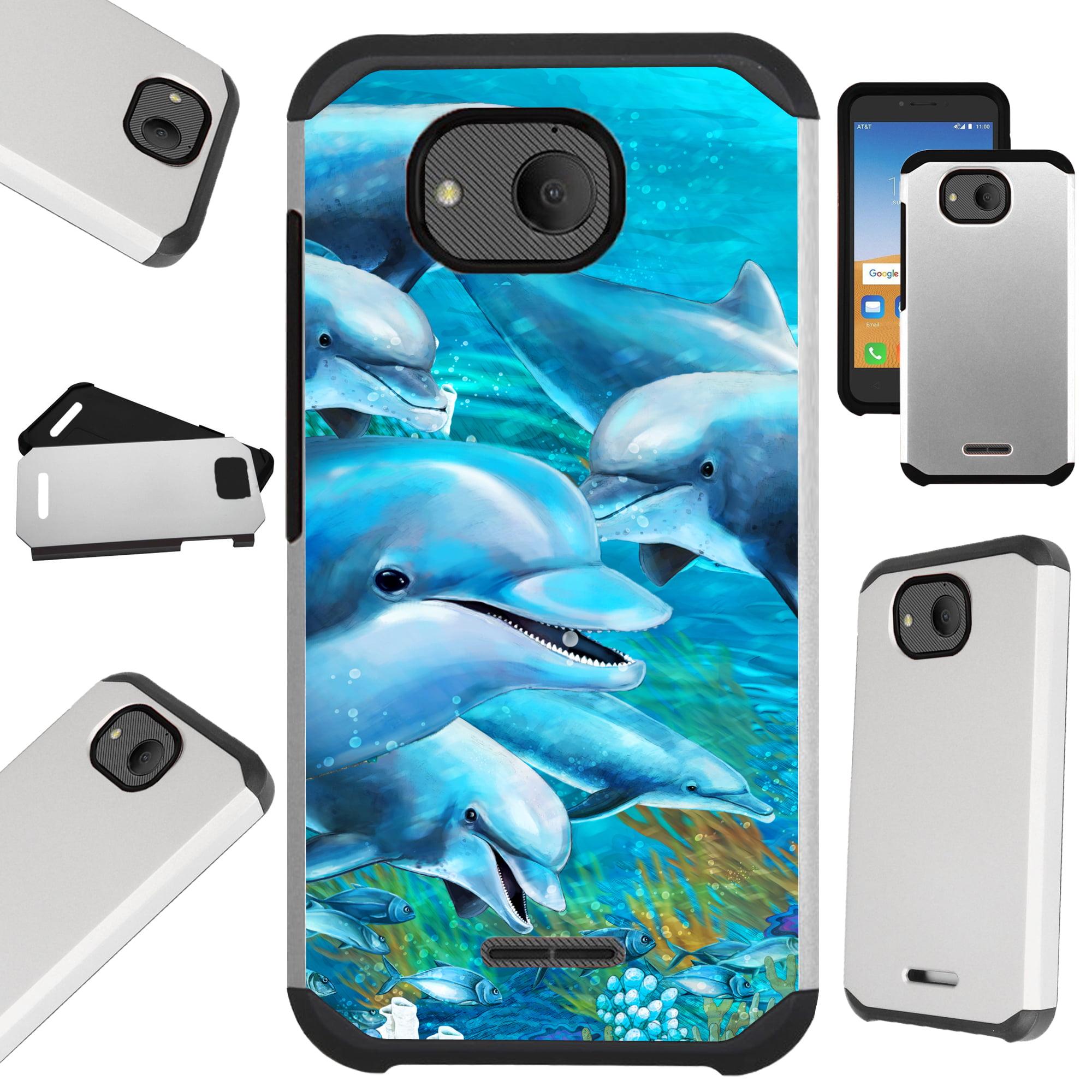 Compatible Alcatel Tetra (2018) Case Hybrid TPU Fusion Phone Cover (Ocean Dolphin)