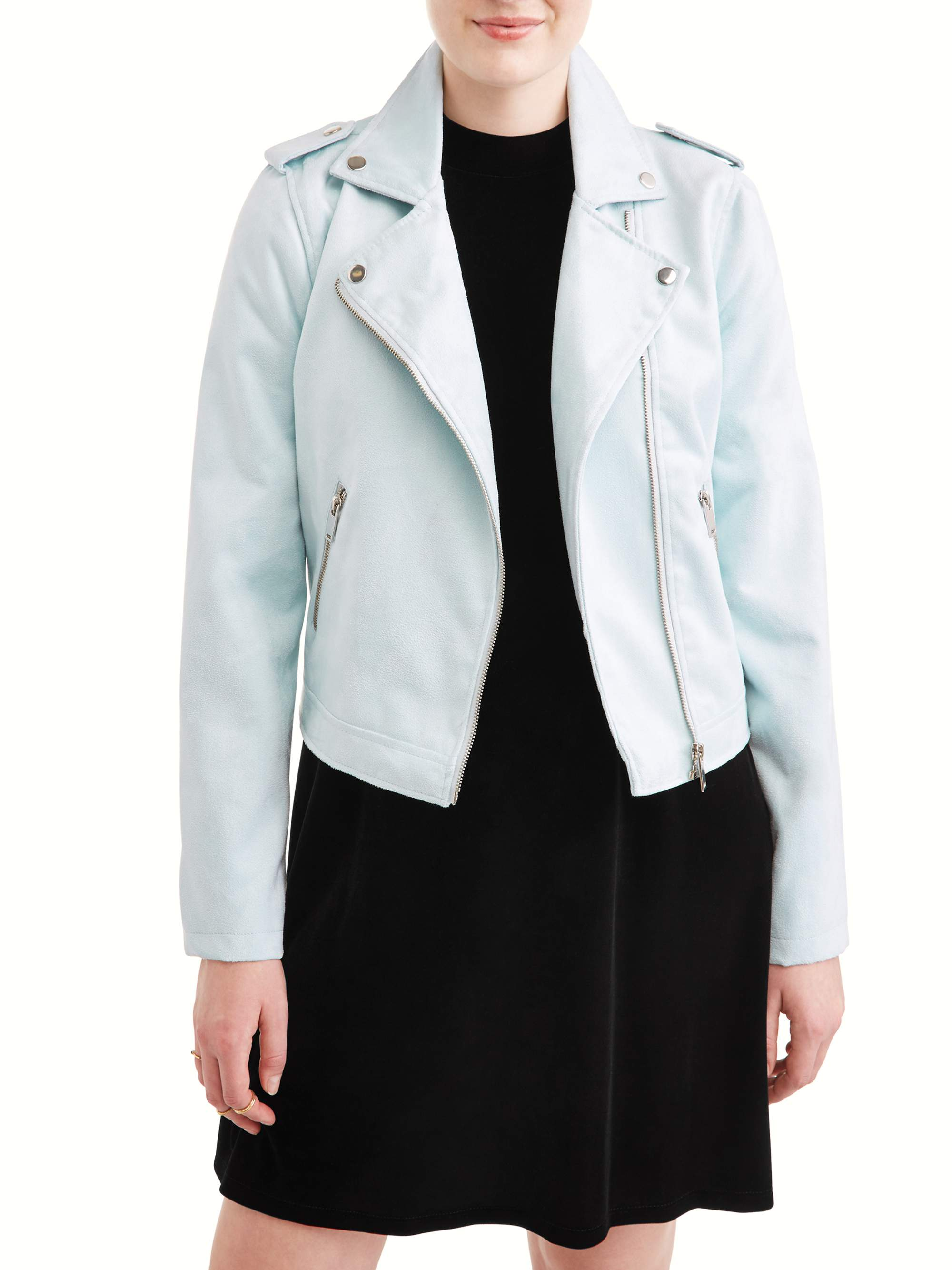 Juniors' Faux Suede Zip Moto Jacket