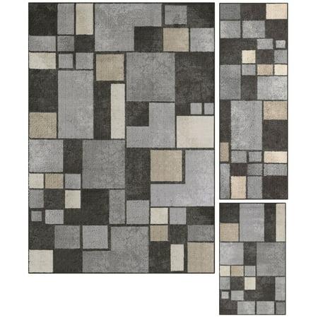 Mainstays Gray Squares Nylon Loop Pile Print 3-Piece Area Rug - Nylon Grain