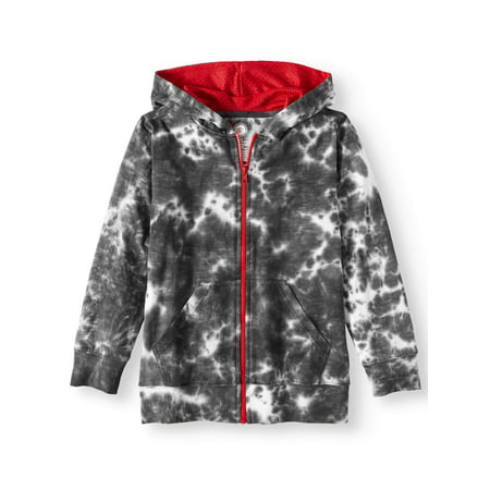 Wonder Nation Tie Dye Full Zip Hoodie with Kangaroo Pockets (Little Boys, Big Boys, & Husky)