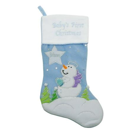 20 Quot Light Blue Quot Baby S First Christmas Quot Velveteen Snowman
