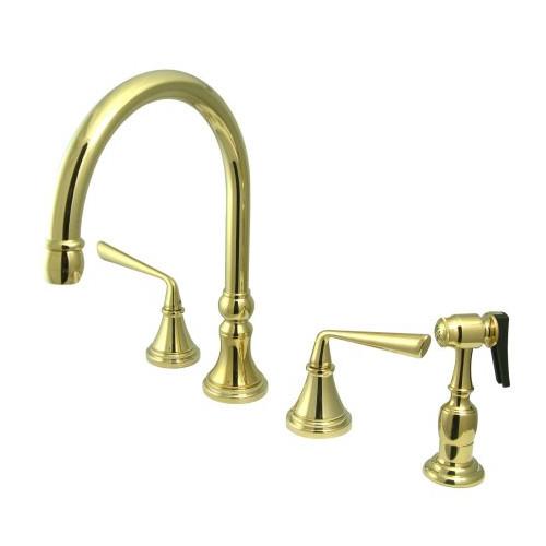 Elements of Design Copenhagen Double Handle Widespread Kitchen Faucet with Brass Sprayer