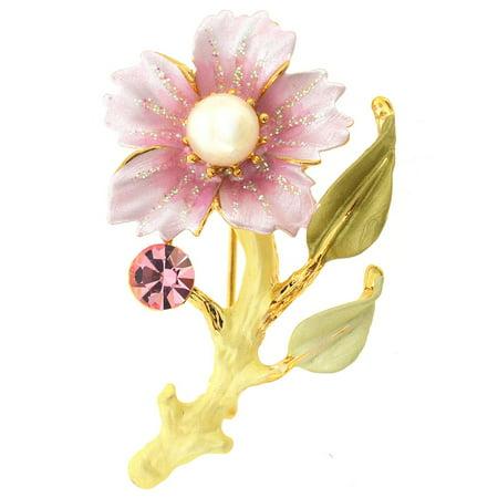 9fb20e5b58 Pink Flower Swarovski Crystal Pin Brooch