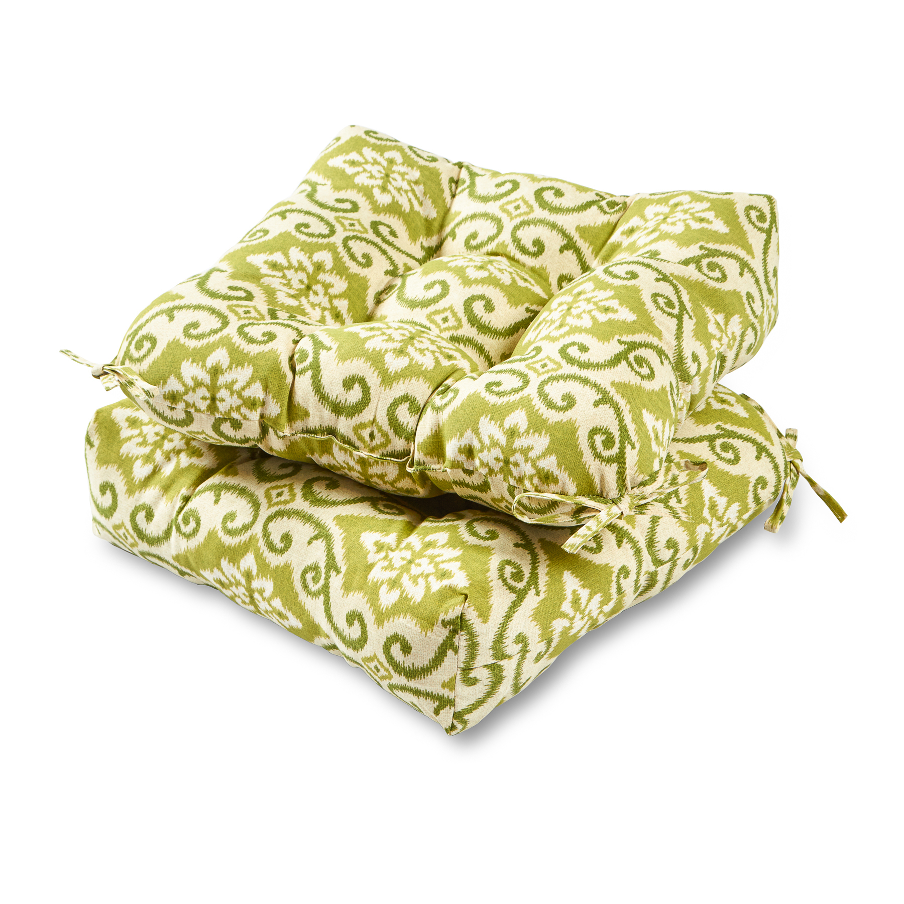 Greendale Home Fashions Green Ikat 20-inch Outdoor Chair Cushion, Set of 2