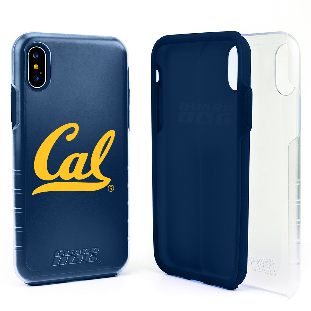 Cal Berkeley Golden Bears Clear Hybrid Case for iPhone X / Xs with Guard Glass Screen Protector - Clear with Dark Blue