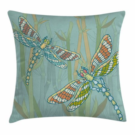Dragonfly Throw Pillow Cushion Cover, Doodle Style Giant Dragonfly Figures on Lake Bushes Nature Exotic Picture Art, Decorative Square Accent Pillow Case, 18 X 18 Inches, Almond Green, by