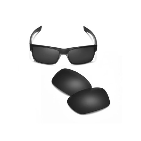 Walleva Black Mr. Shield Polarized Replacement Lenses for Oakley TwoFace Sunglasses