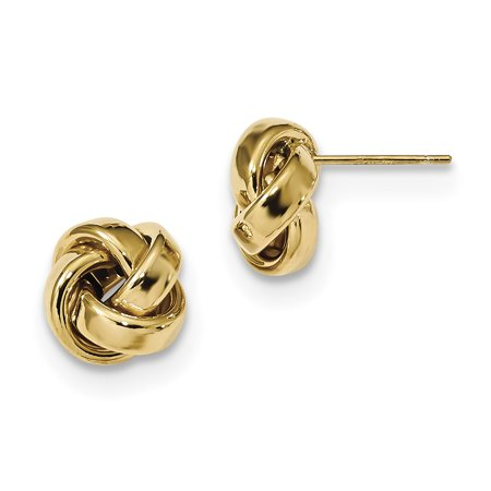 14kt Yellow Gold Love Knot Post Stud Ball Button Earrings Fine Jewelry For Women Gift Set ()