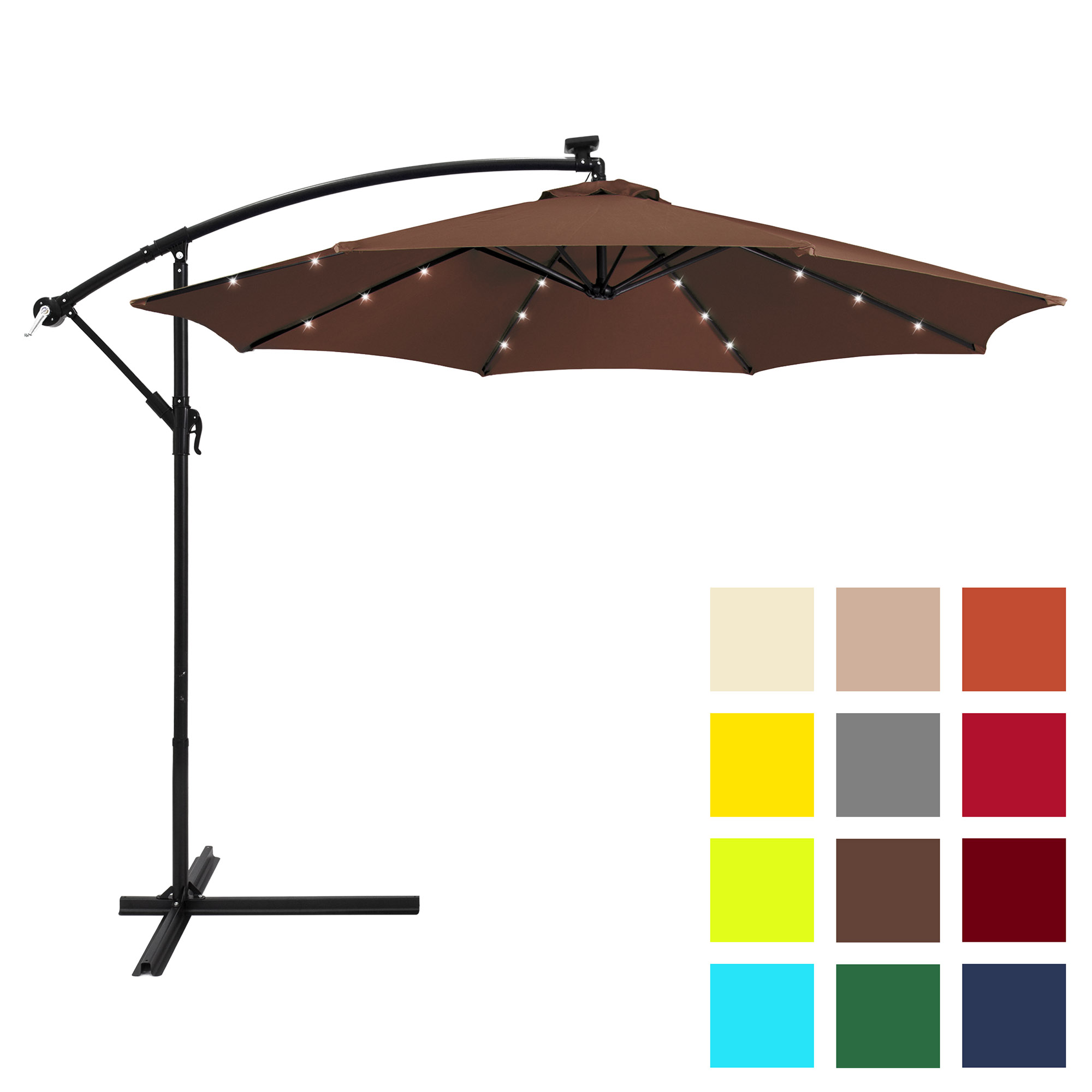 Best Choice Products 10ft Solar LED Patio Offset Umbrella w/ Easy Tilt Adjustment - Brown