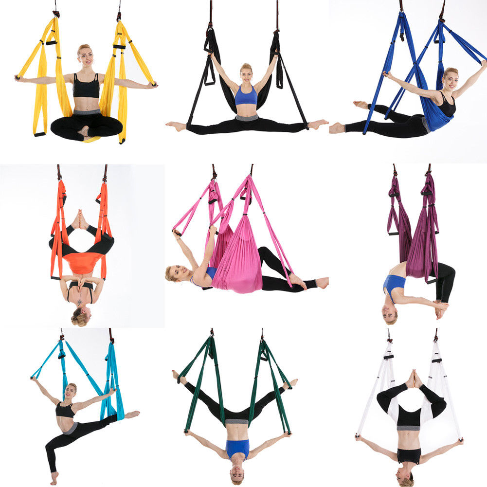 ELEOPTION Aerial Yoga Hammock Swing Inversion Sling Trapeze Flying Antigravity Yoga Inversion Exercises