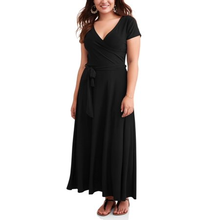 Women's Plus Short Sleeve Classic Wrap Maxi Dress for $<!---->