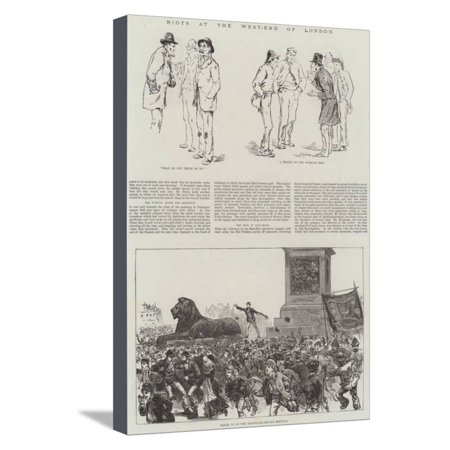 Riots at the West-End of London Stretched Canvas Print Wall Art](Riots London Halloween)