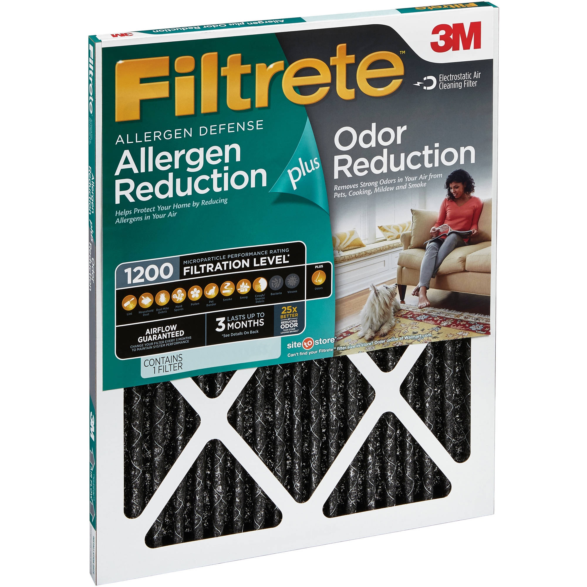 Air filters walmart filtrete allergen plus odor reduction hvac furnace air filter 1200 mpr 18 x 20 sciox Images