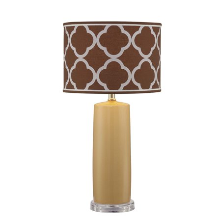 Lite Source Monisha 1-Light Table Lamp, Mustard Finish with Light Brown Moroccan Fabric Shade